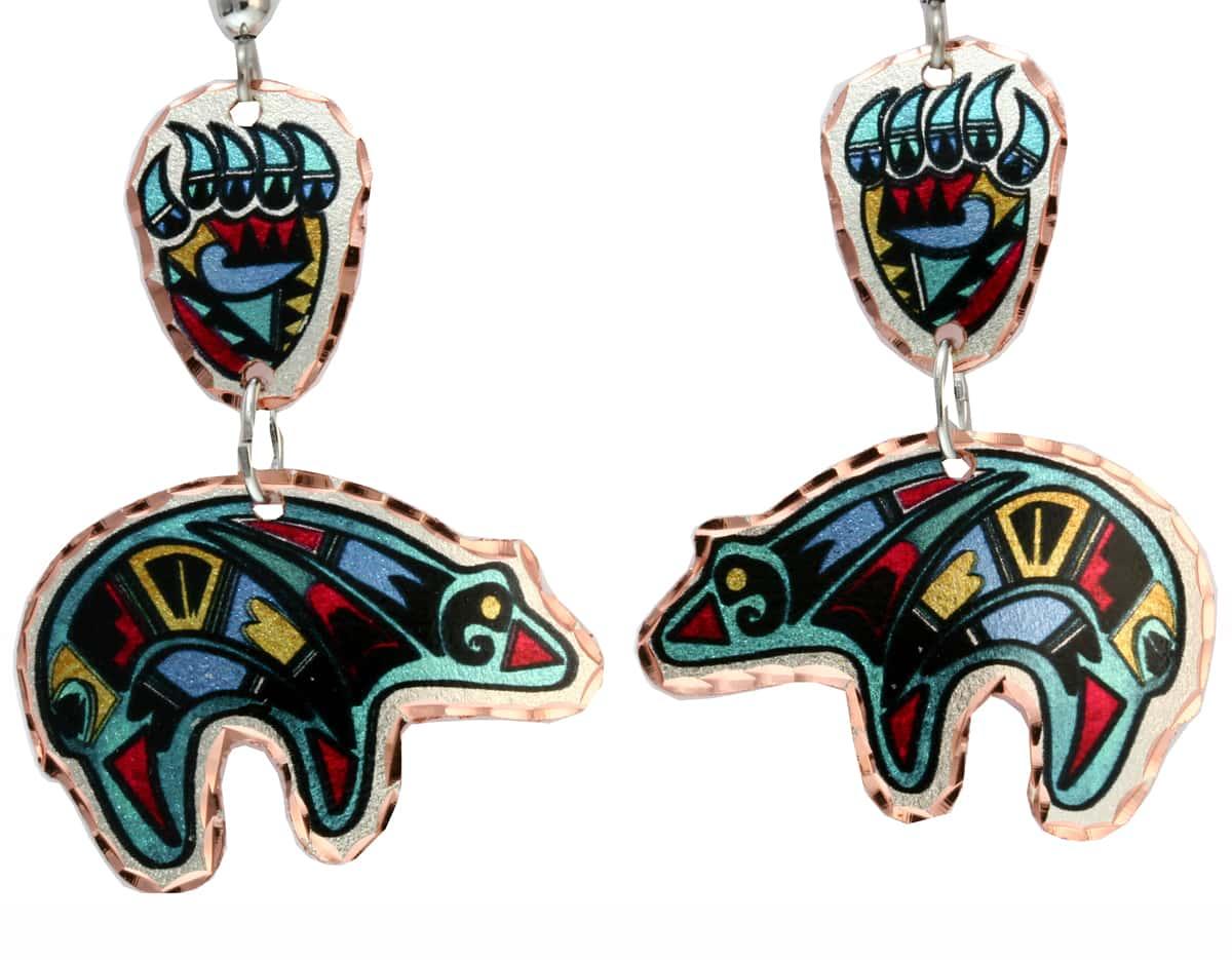 SW Native Indian Fetish Bear Earrings