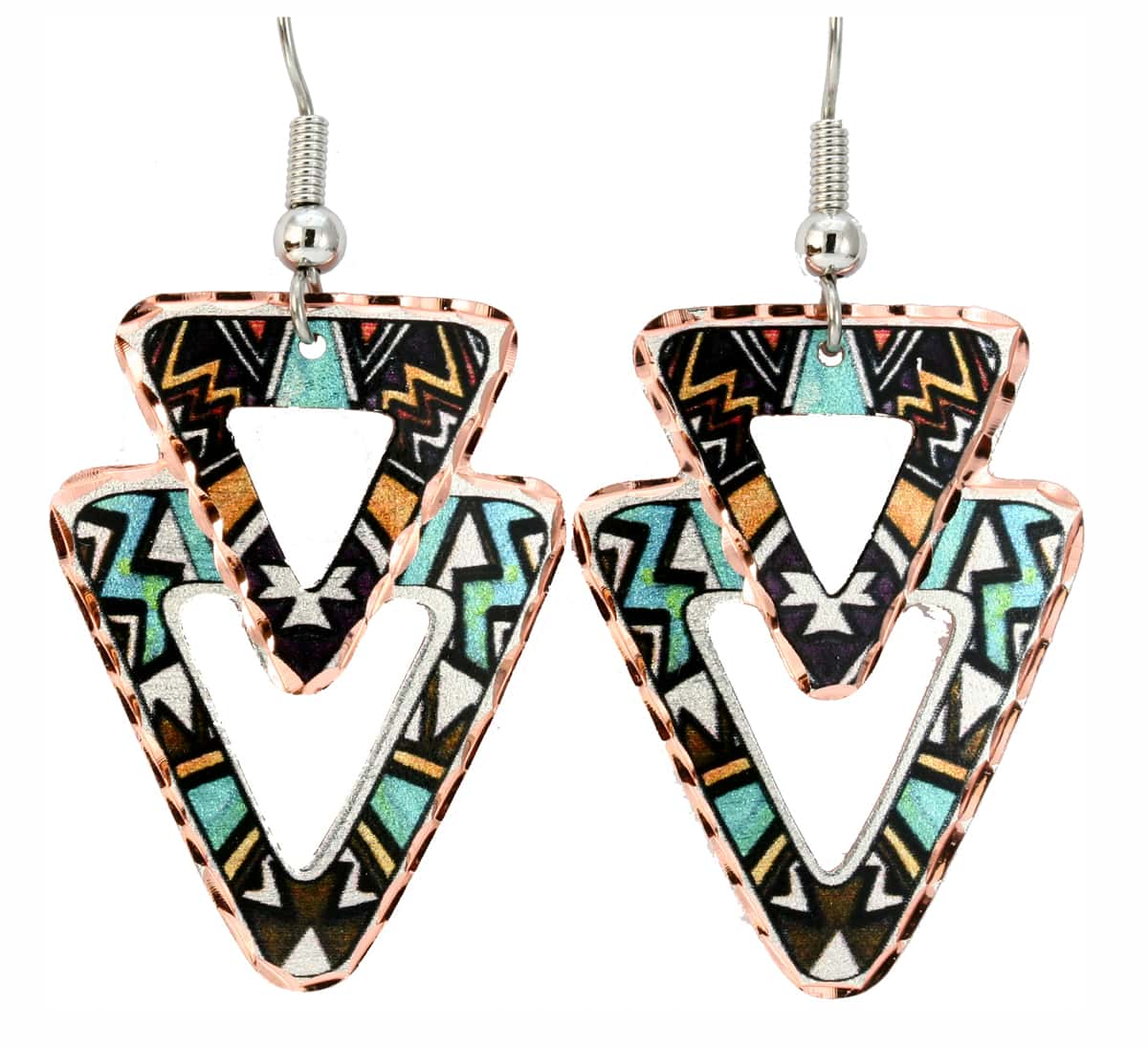Triangle Cut Outs Native Abstract Art Jewelry Earrings