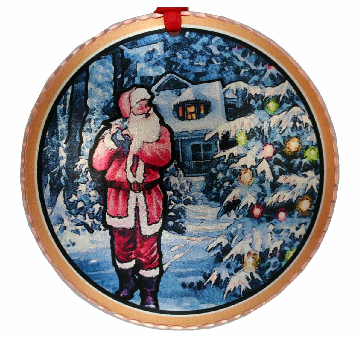 Colorful Handmade Santa Delivering Gifts Christmas Tree Ornament