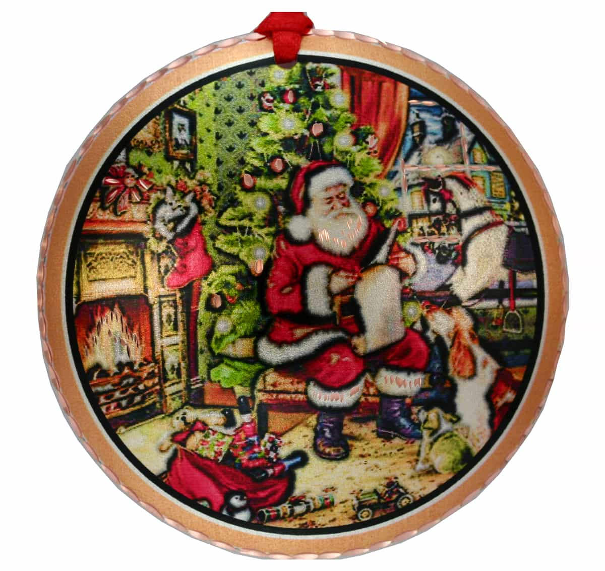 Santa by Christmas Tree Ornaments Handcrafted Copper Christmas Tree Ornament Created in Colorful Artwork