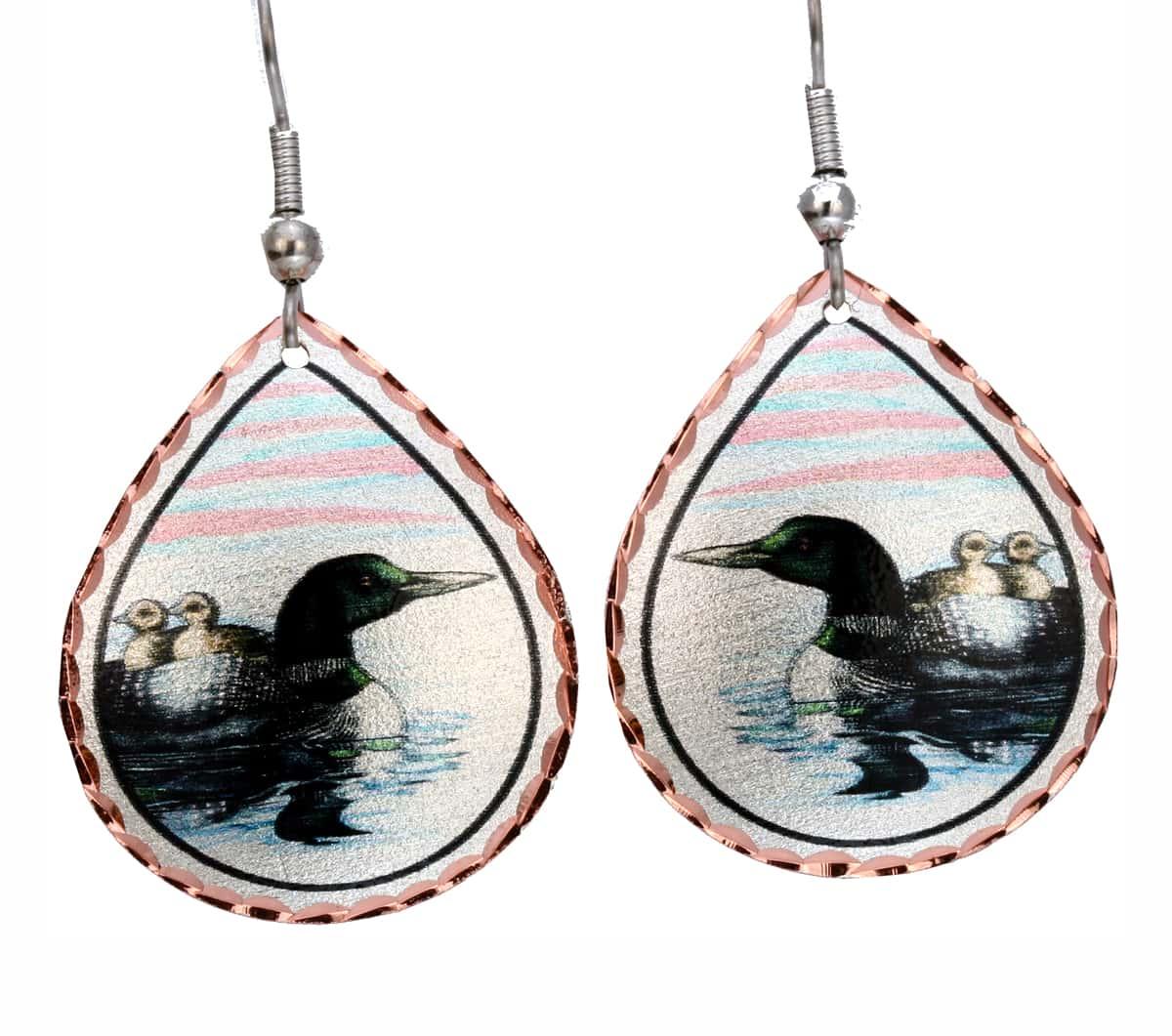 Teardrop Loon Earrings, Wholesale Wildlife Art Jewelry