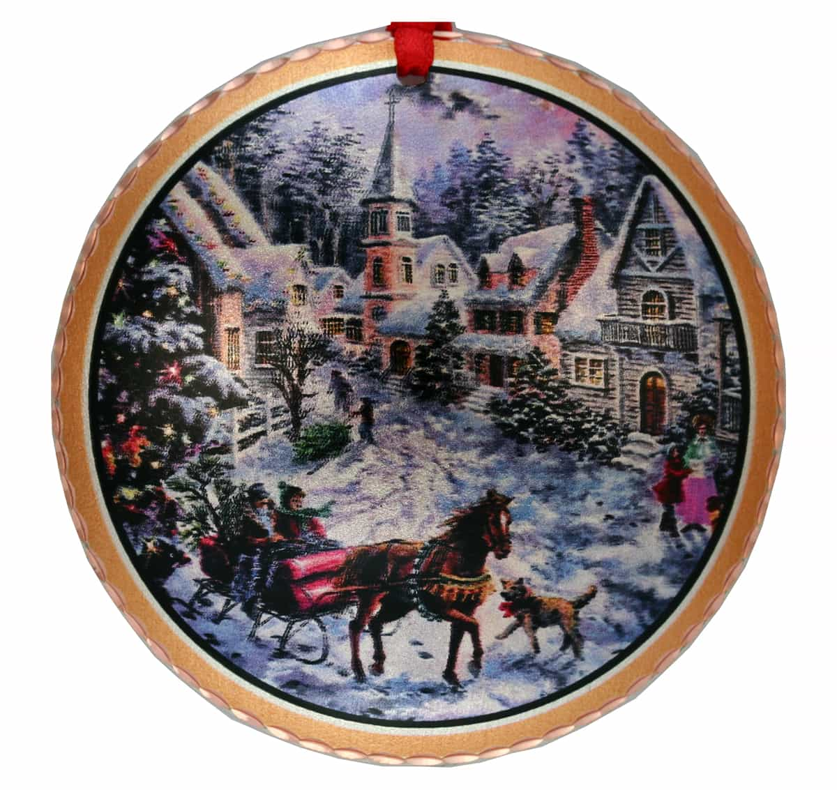 Colorful Handmade Copper Winter Town and Sleigh Christmas Tree Ornaments