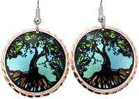 Tree of life earrings with colorful highlights