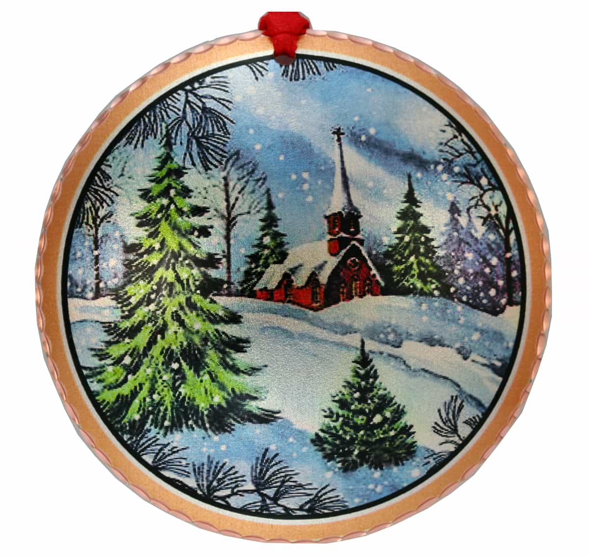 Wholesale Handmade Christmas Tree Ornament Created in Colorful Winter Church Design