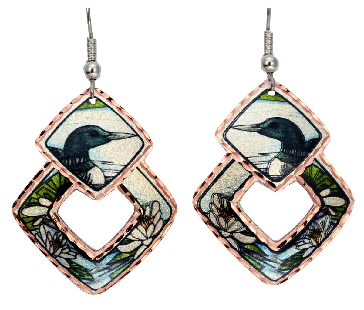 Unique Earrings with Remarkable Loon Artwork