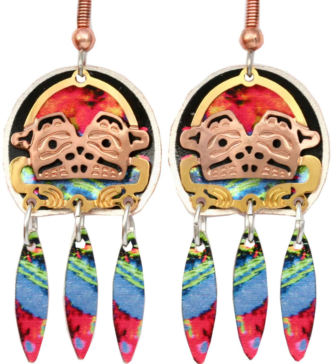 West coast Haida frog totem earrings for women who want sophisticated look