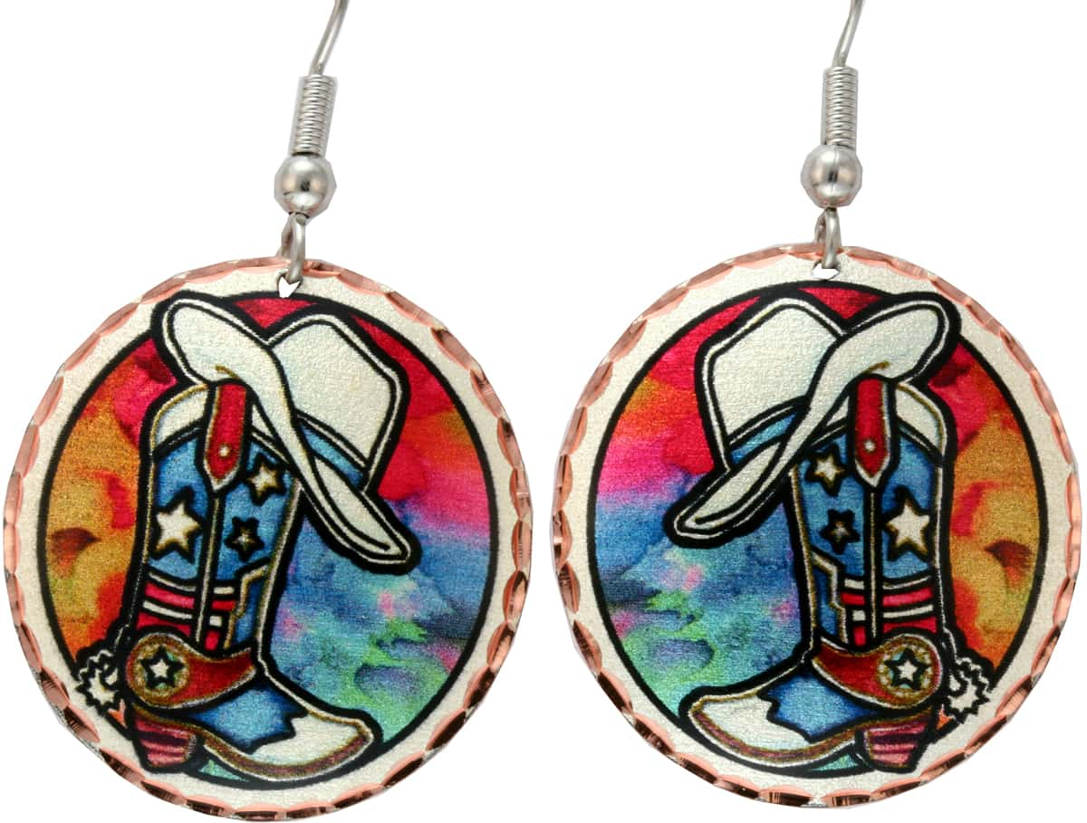 Western Art Jewelry, Cowboy Boot and Hat Earrings
