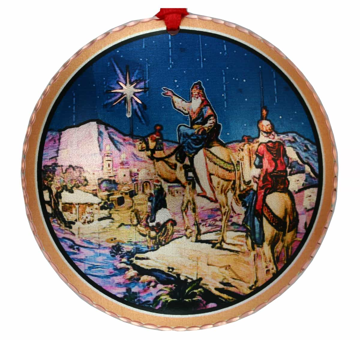 Handcrafted Copper Christmas Tree Ornament Created in Colorful Wise Men Artwork
