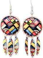 Buy dangle art deco earrings handmade from copper in translucent colors definition