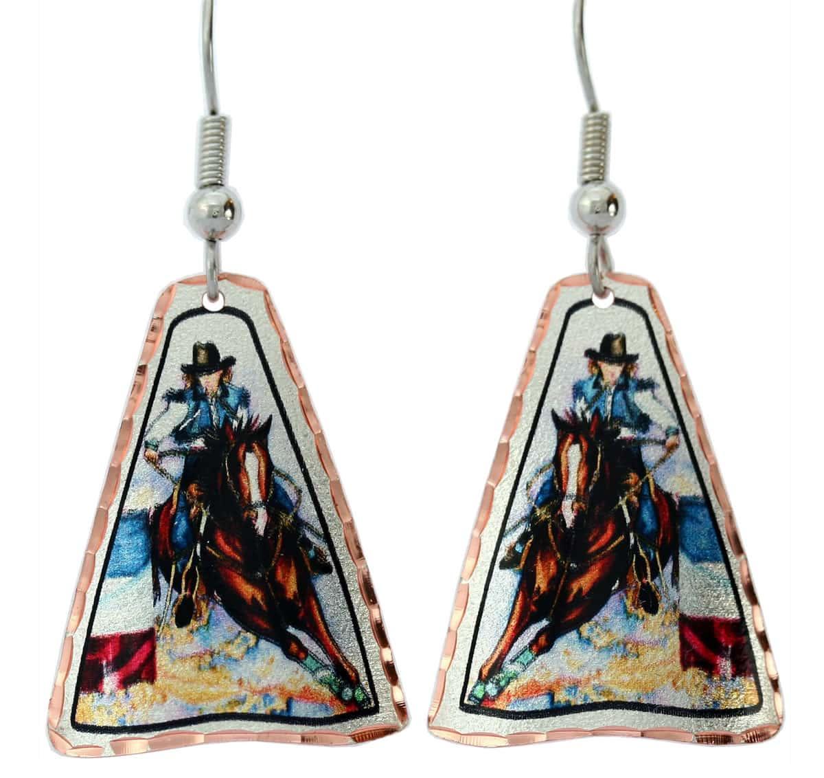 Barrel racer rodeo earrings for women who love weatern fashion