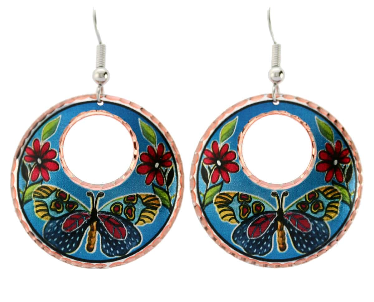 Vibrant blur background colorful butterfly earrings