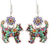 Cut out colorful cat earrings with dangle flower so cute they will make you smile