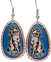 Buy cat earrings with blue background