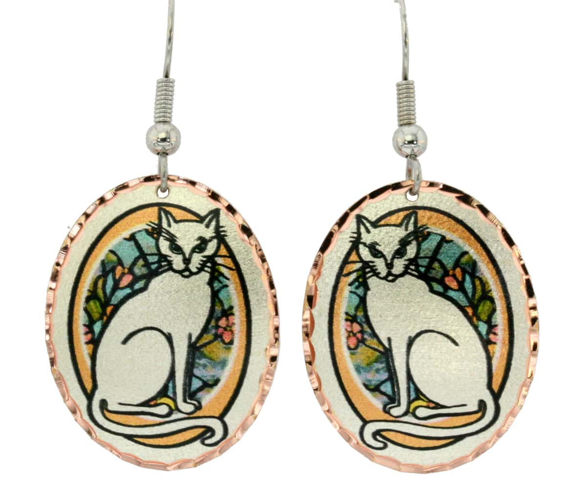 Oval cat earrings, accessorize your outfits with cat inspired unique jewelry