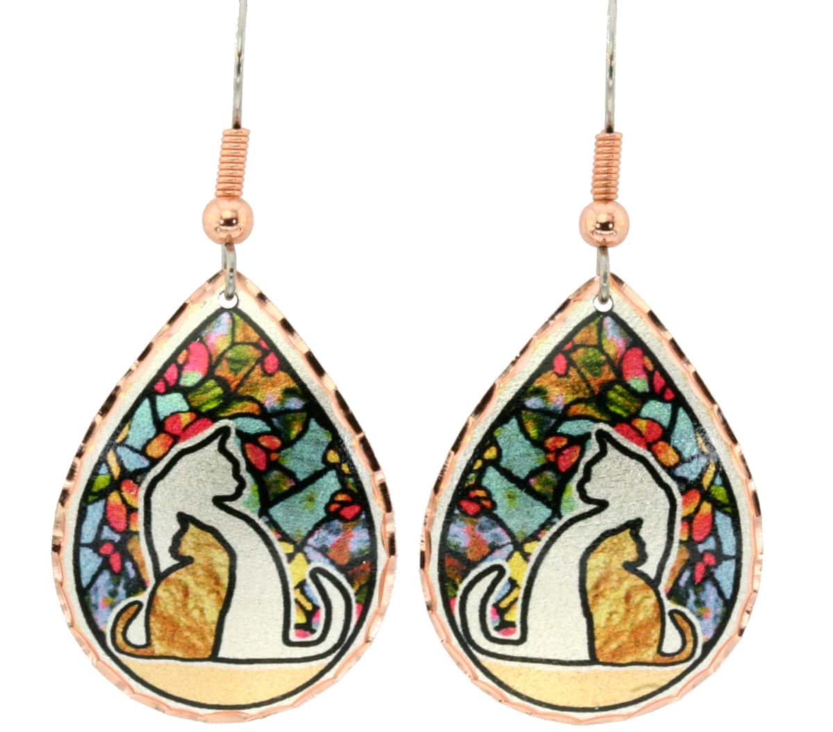 Teardrop cat earrings handmade in cat silhouettes with colorful stained glass background design
