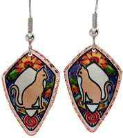 Copper cat earrings handmade in colorful flowers as background