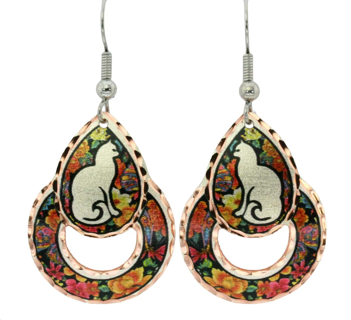 Silhouette cat earrings with colorful flower background