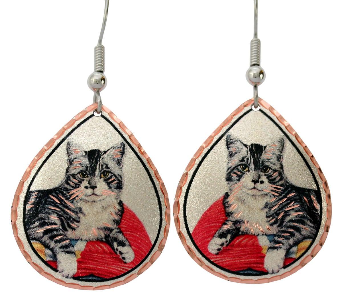 Buy cat earrings handmade from copper in beautiful watercolor artwork by Lynn Bean