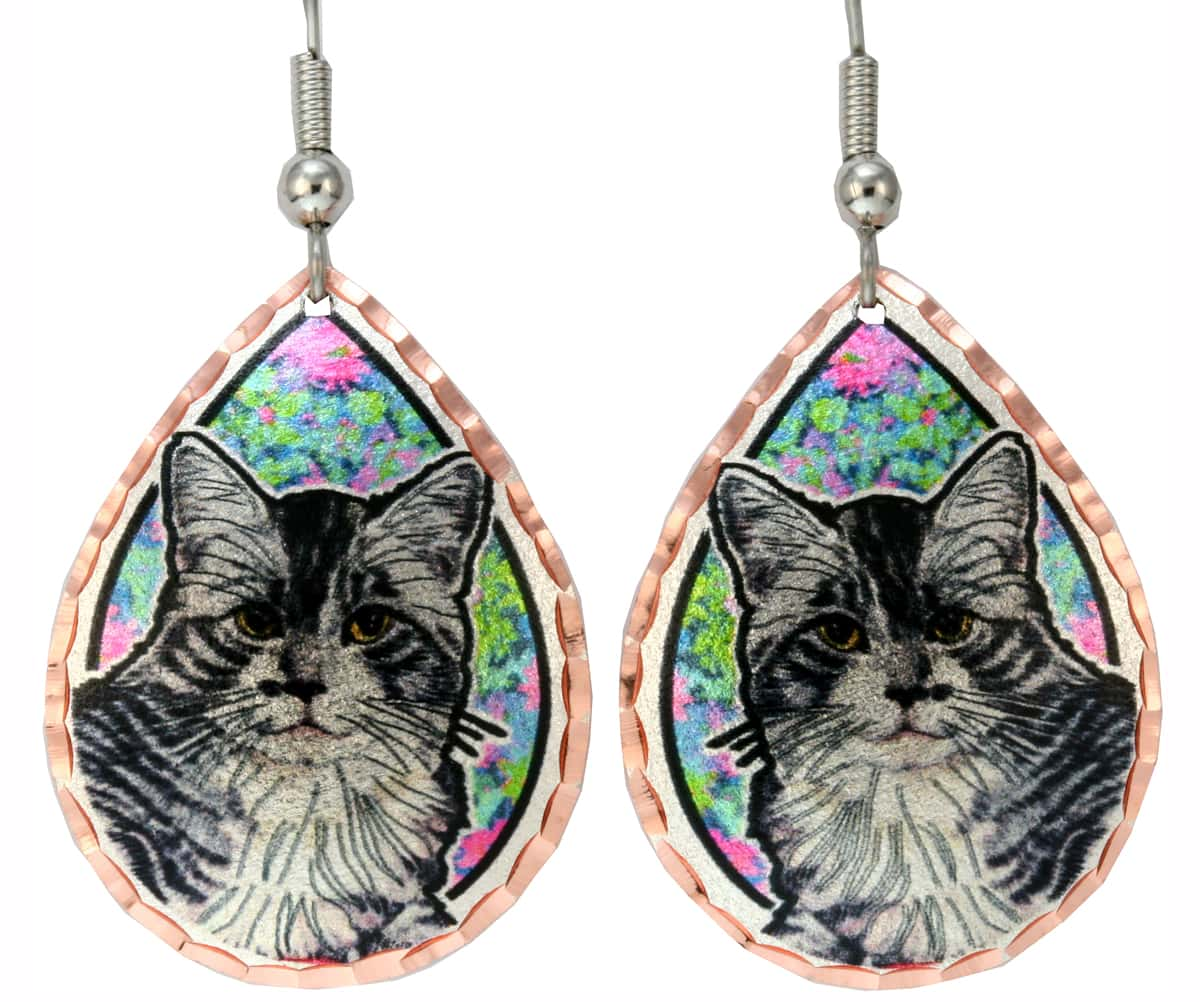 Teardrop Cat Earrings with Colorful Flowers Art Background