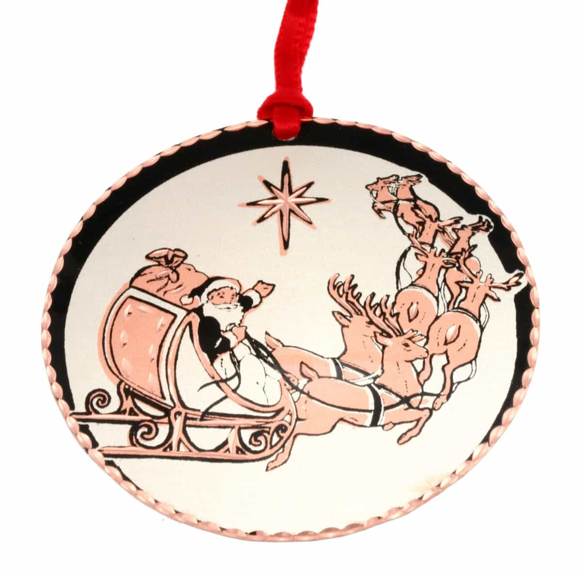 Santa with sleigh Christmas tree ornament handmade from copper with diamond cutting to sparkle