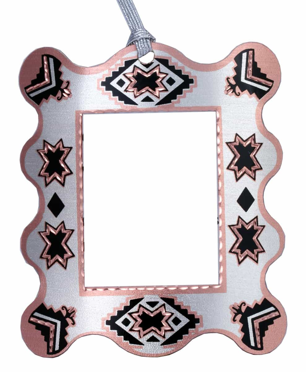 Copper Christmas Photo Ornaments Handcrafted in SW Native American Design