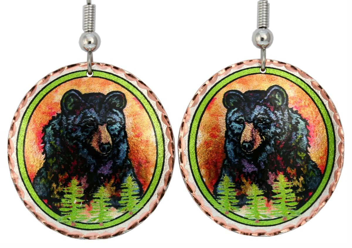 Colorful Bear Earrings, Lynn Bean Art Jewelry