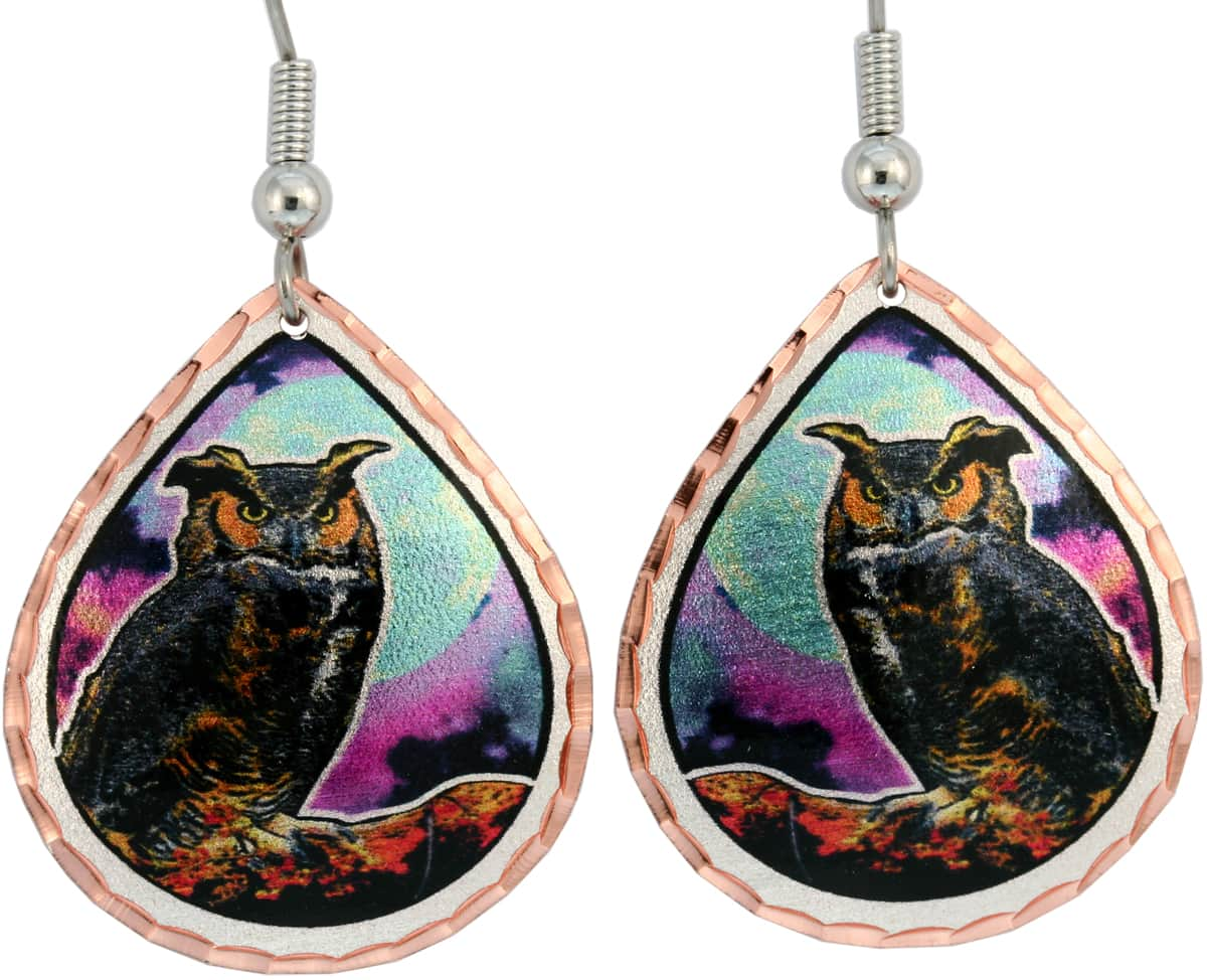Buy colorful handmade copper owl earrings created in fine detail