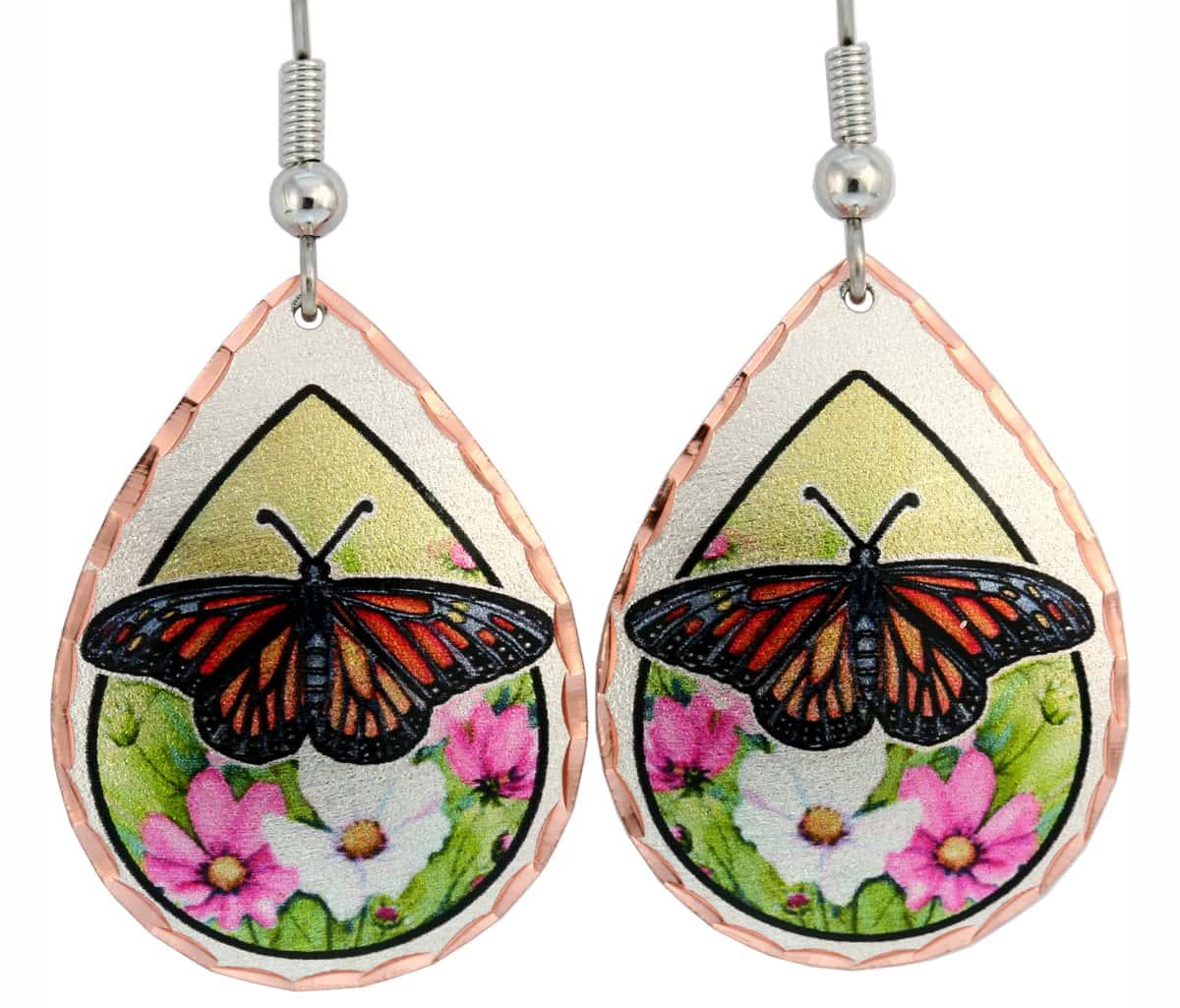 Wholesale Art Jewelry, Monarch Butterfly Earrings