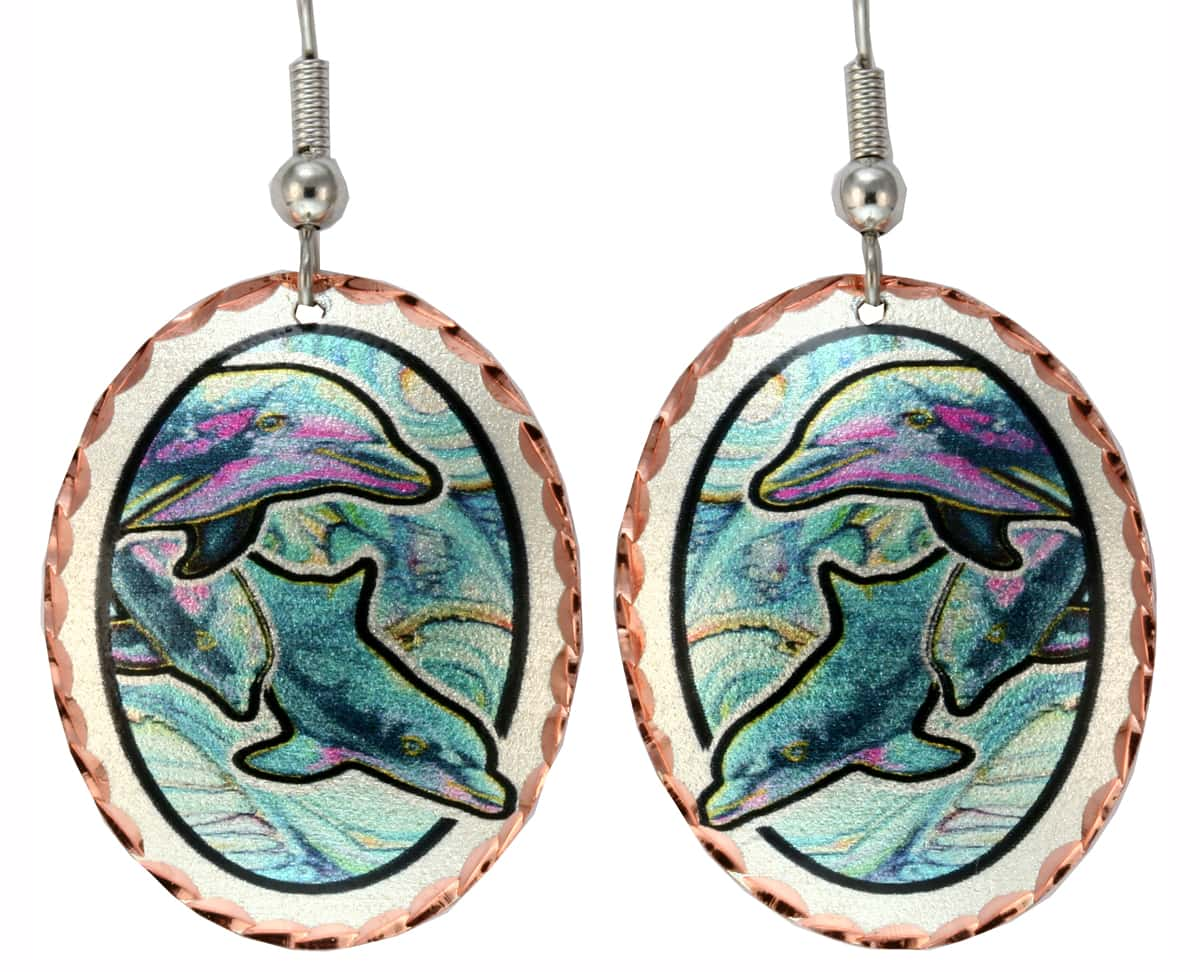 Wholesale Nautical Art Jewelry, Dolphin Earrings