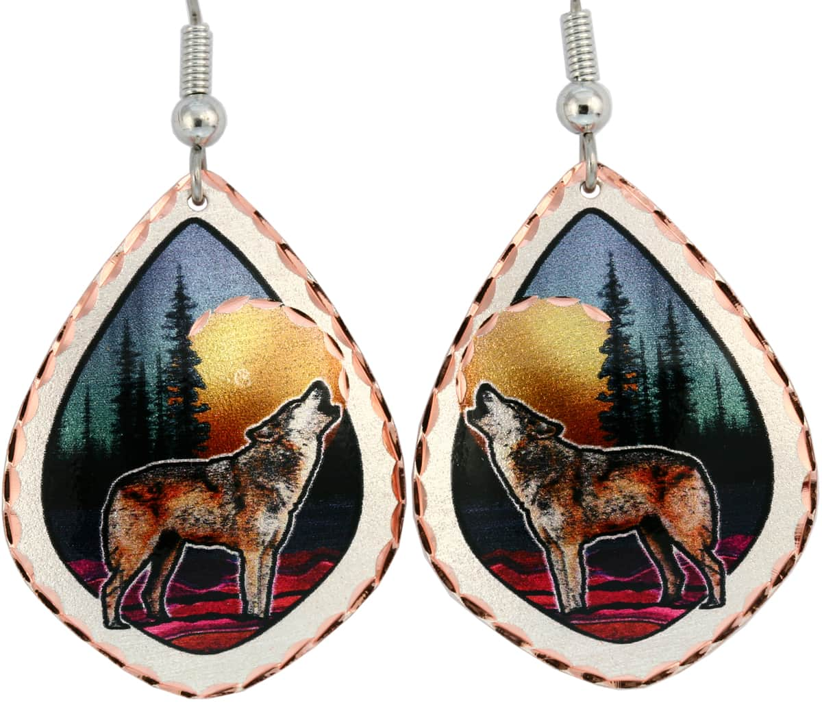 Buy colorful howling wolf earrings handmade from copper