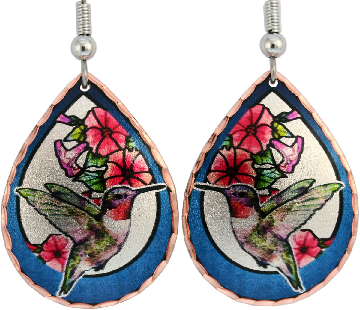 Hummingbird and Flowers Earrings TB-44