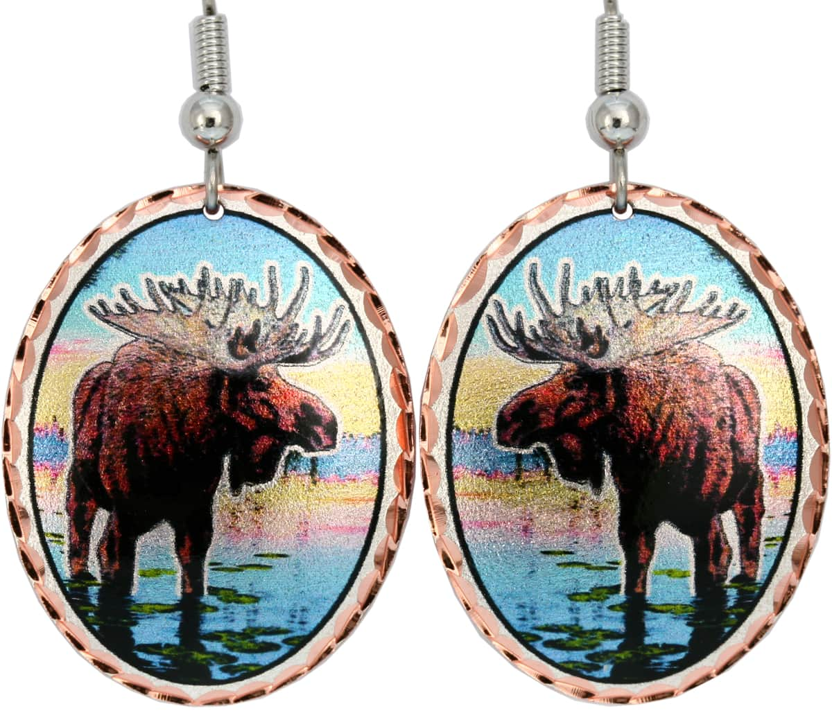 Buy moose earrings handmade from copper in colorful design