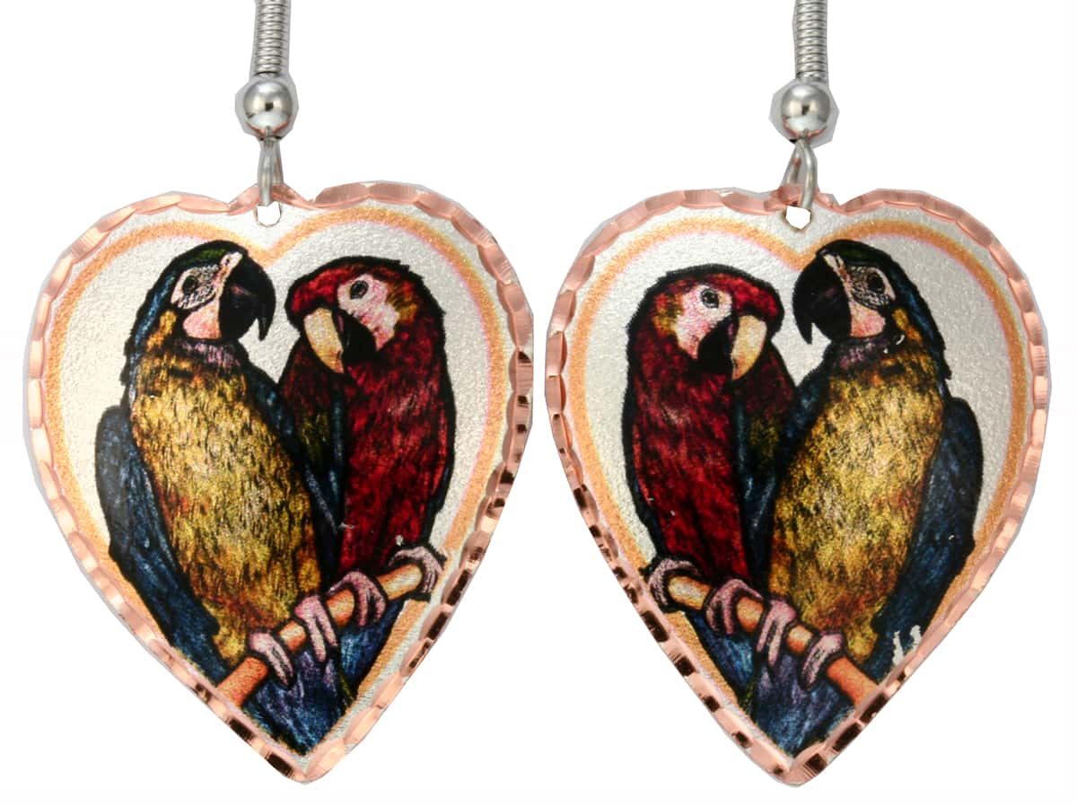 Colorful Art Jewelry Wholesale, Parrots Earrings