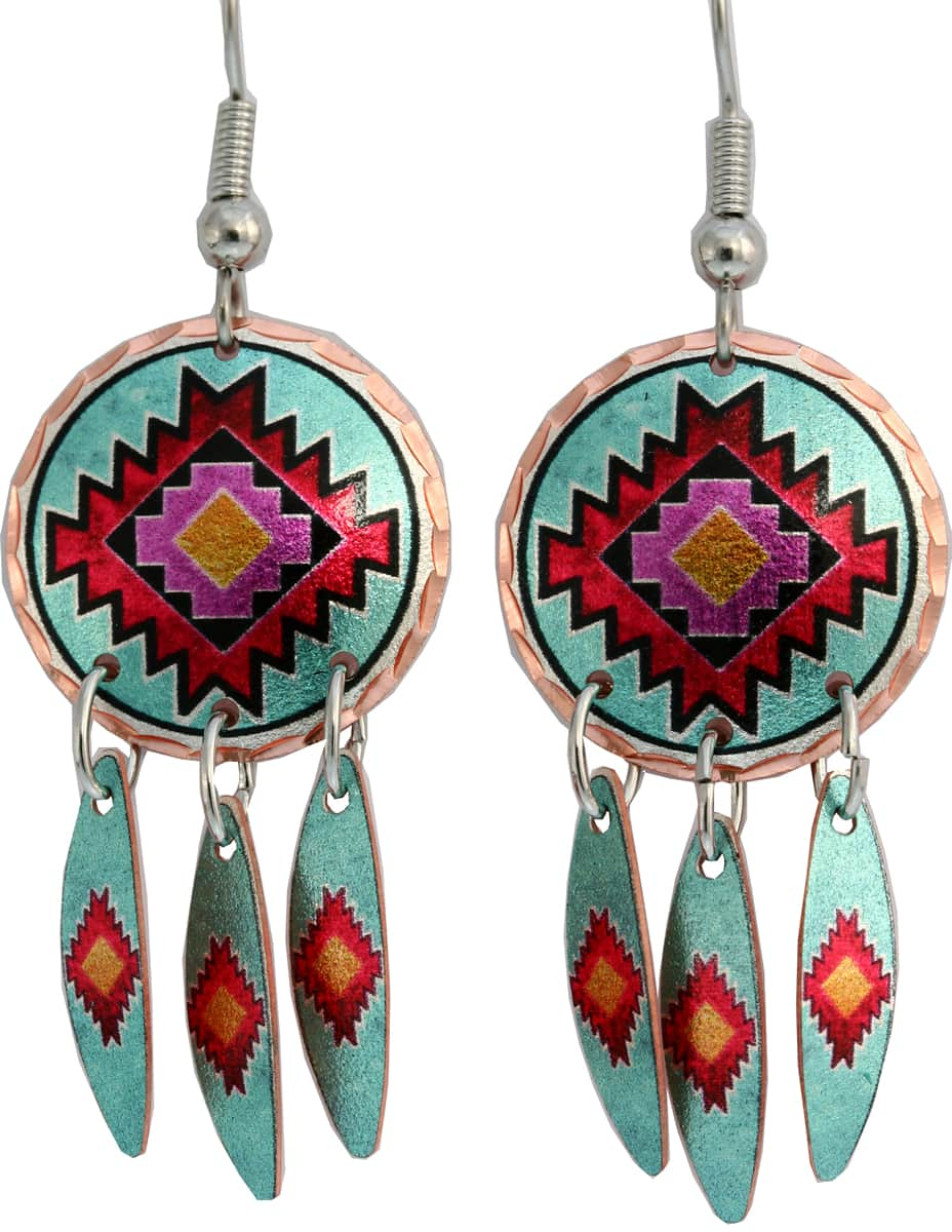 Dangle Southwest Native earrings created in turquoise and Indian red colors