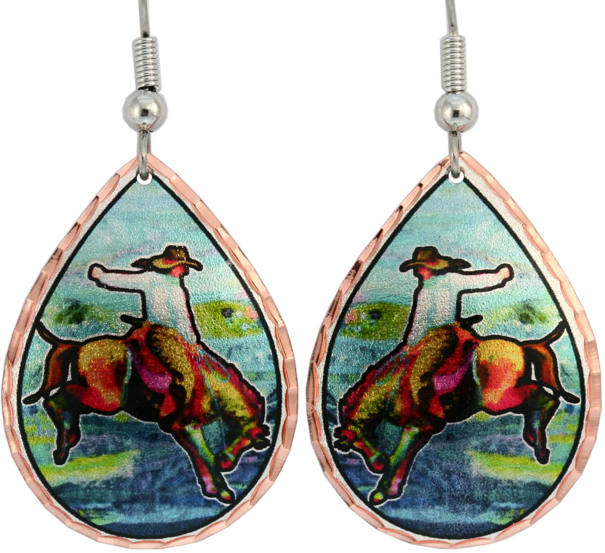 Colorful western bronco buster earrings. You cannot find our unique handmade jewelry elsewhere