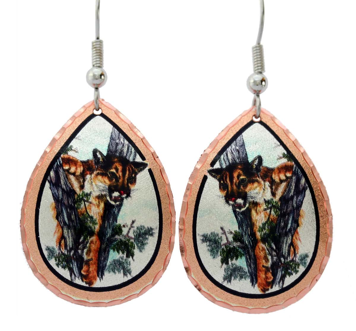 Wholesale art jewelry, cougar earrings made from watercolor artwork by Lynn Bean