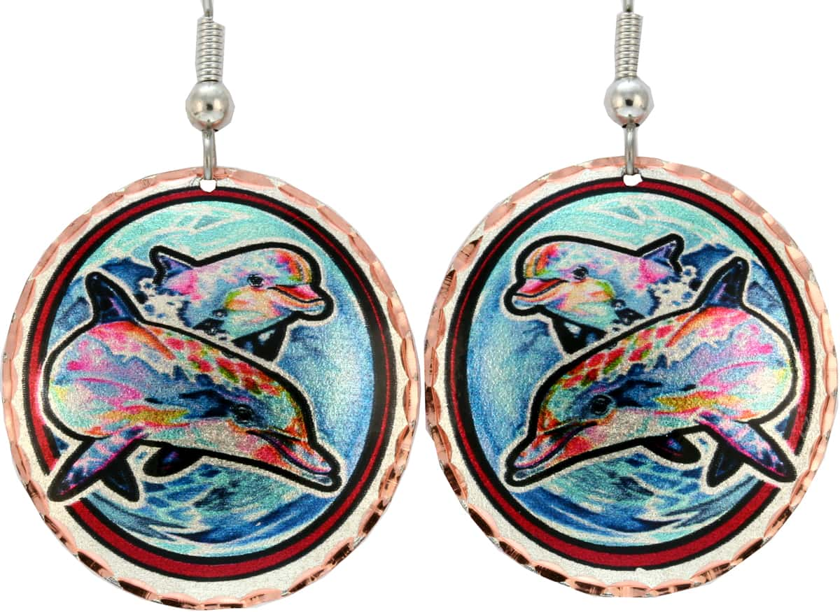 Silvery Blue Ocean and Colorful Dolphins Earrings