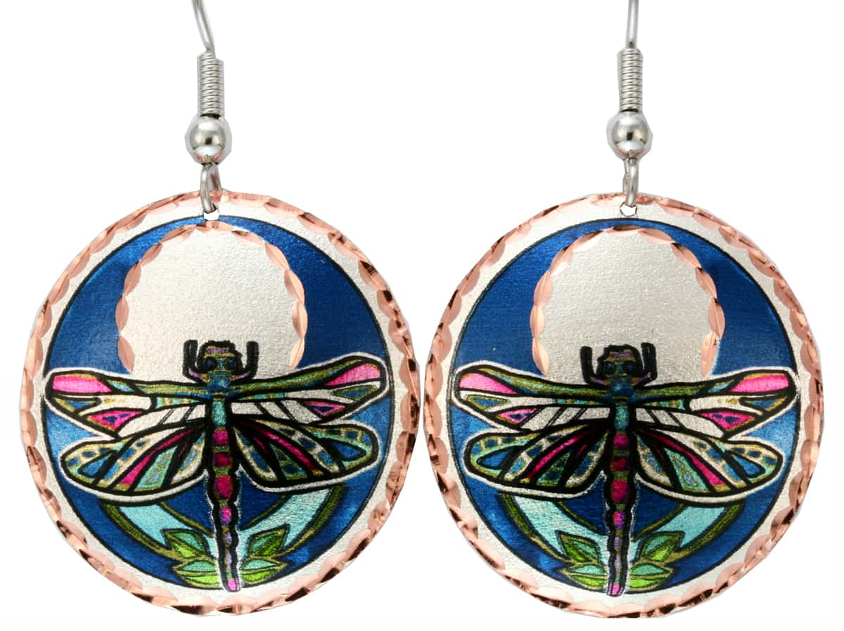 Round Colorful Dragonfly Earrings Handmade from Copper