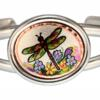 Buy stylish wire bracelets decorated with handmade colorful dragonfly artwork