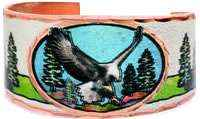 Impress everyone with stylish and original American eagle rings handmade from copper in colorful artwork
