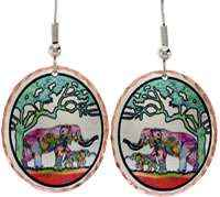 Elephant earrings handmade with trunk up in colorful design