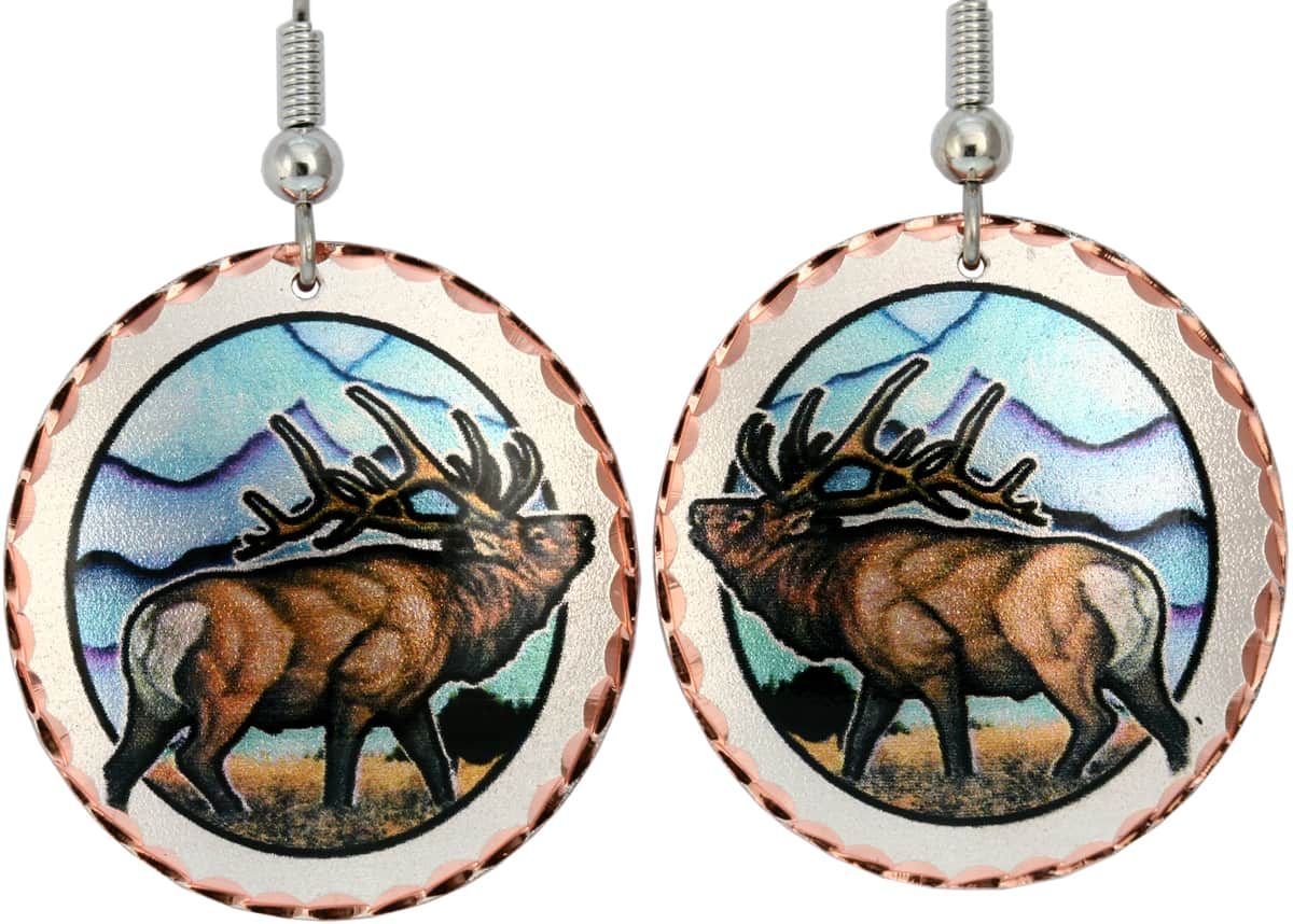 Buy elk earrings handmade from copper silver plated and diamond cut by hand.