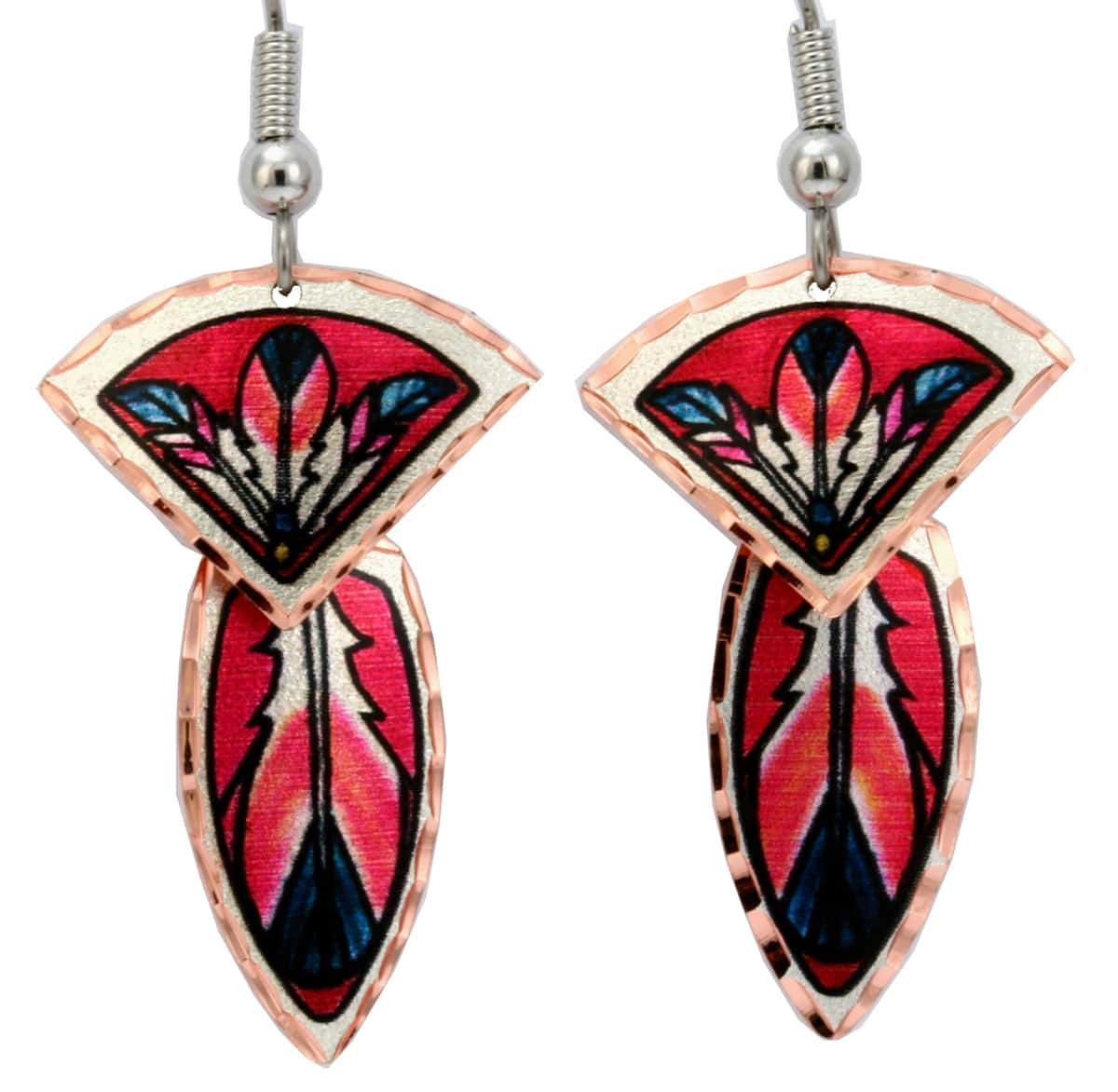 Dangle Earrings created in Feather Artwork with Indian Red Bacground