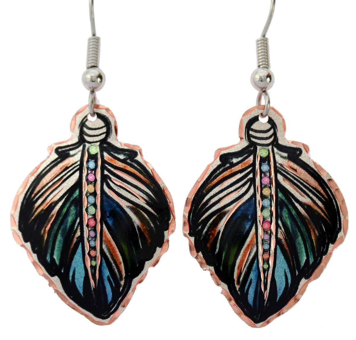 Charming copper feather earrings will evoke delighted admiration