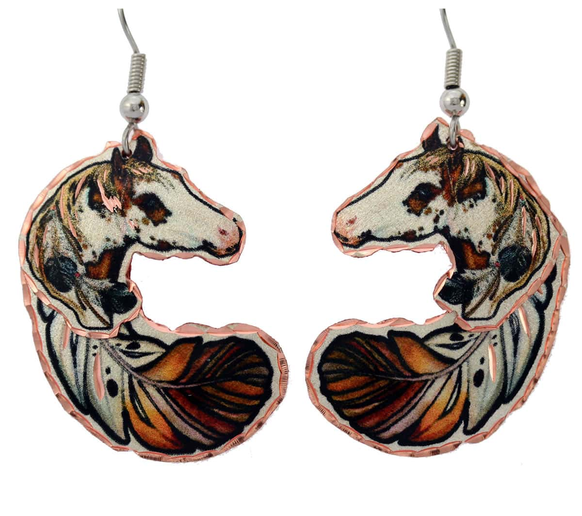 Dangle Copper Feather and Horse Earrings