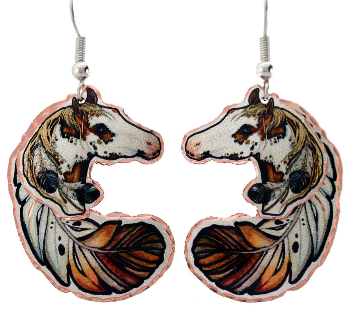 Colorful feather and spotted horse earrings