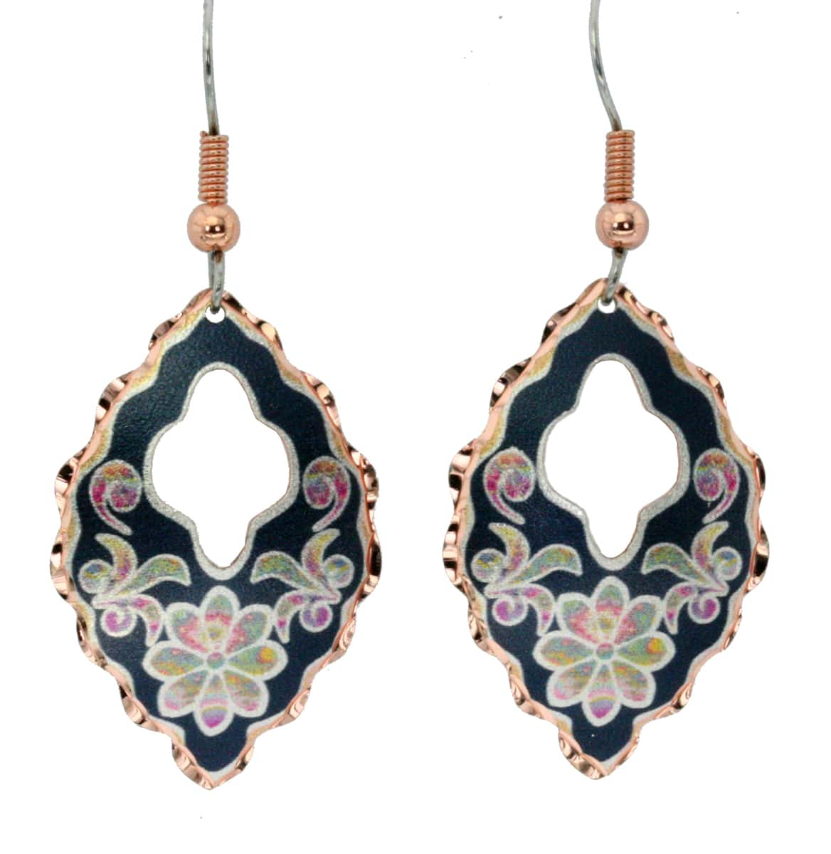 Buy flower earrings beautifully shaped with dark blue background