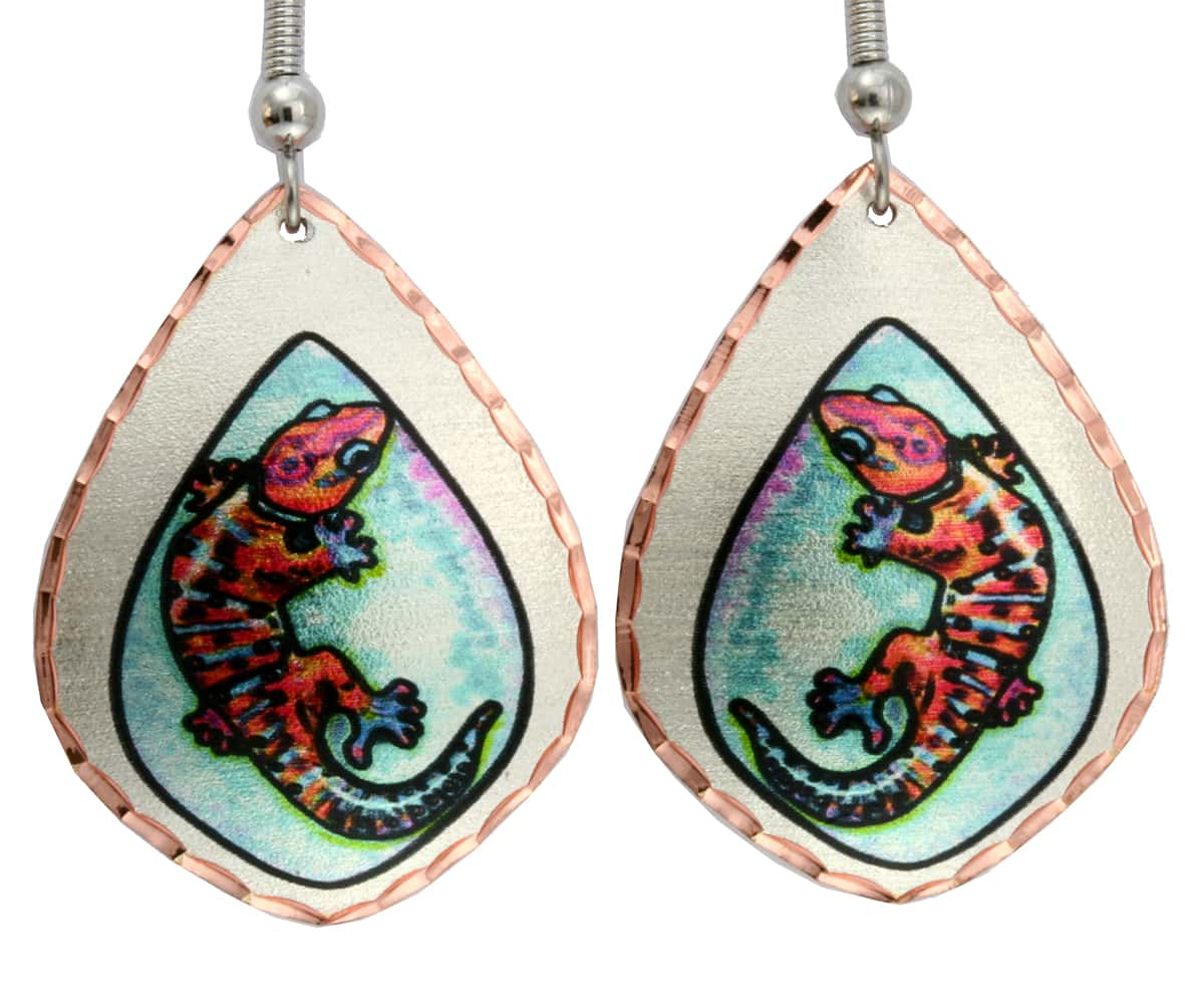 Buy Gecko Earrings Created from Watercolor Artwork by Lynn Bean