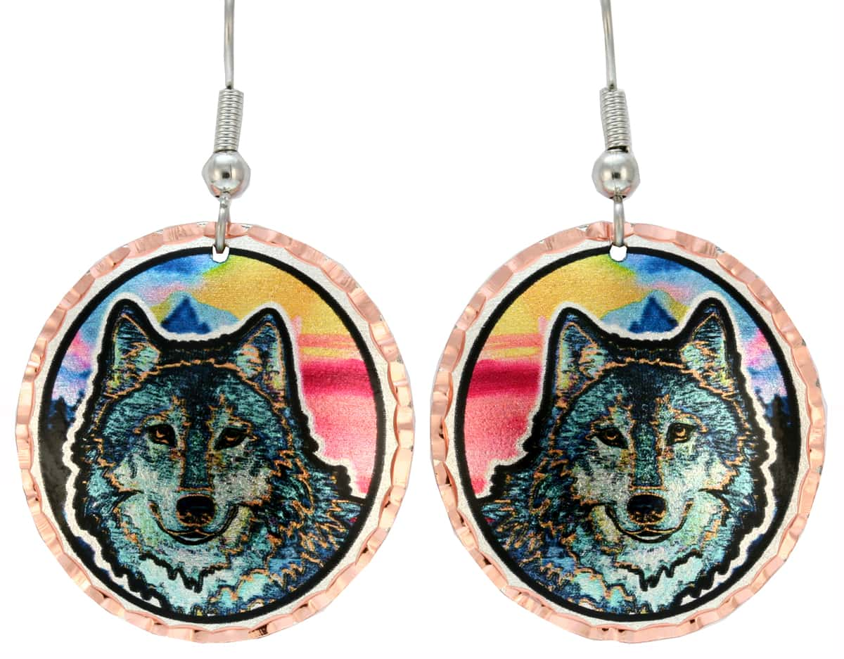 Buy Round Gray Wolf Earrings Stylish and Original