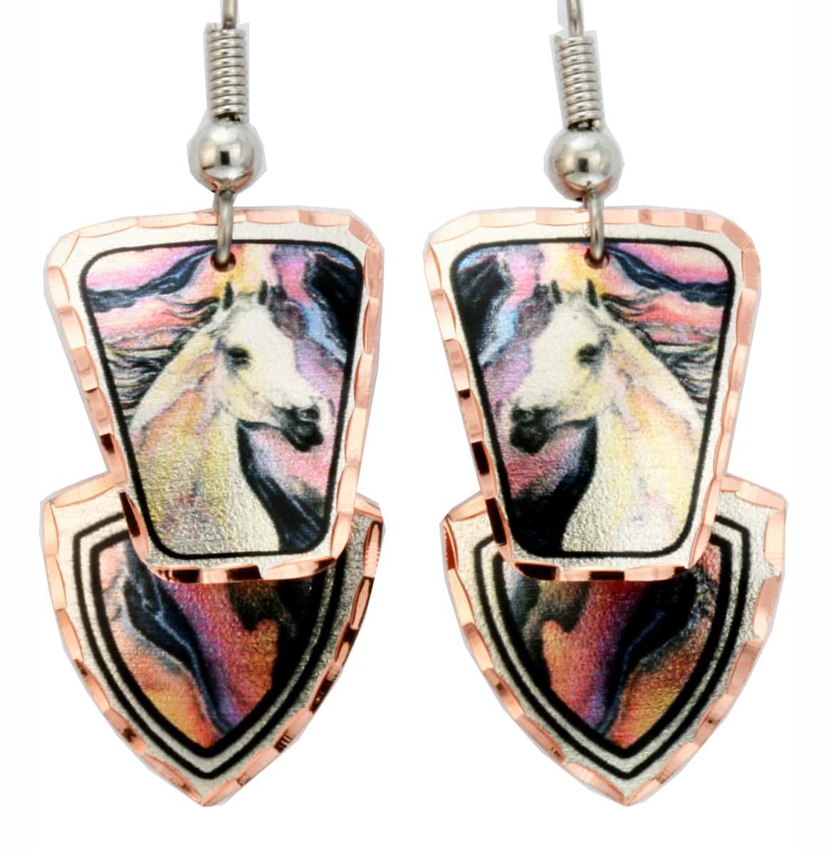Dangle Lightning Horse Earrings